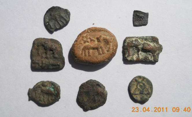 Ancients seals and coins from Hastinapur with the elephant symbol - Hasti.